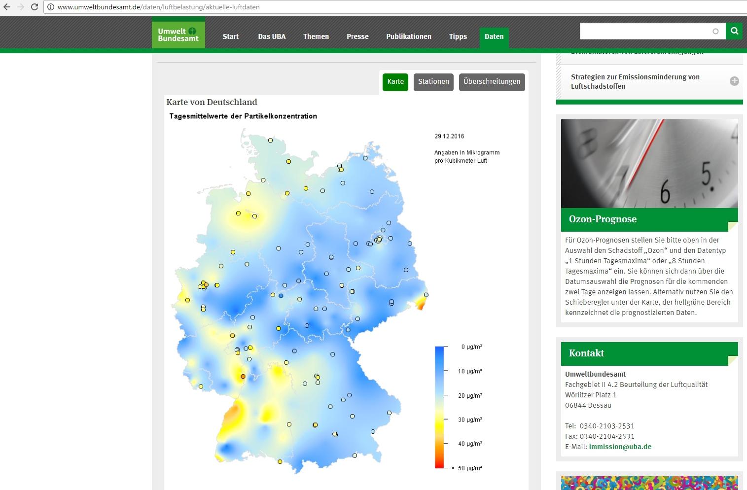 Screenshot 29.12.16 | Quelle: https://www.umweltbundesamt.de/daten/luftbelastung/aktuelle-luftdaten
